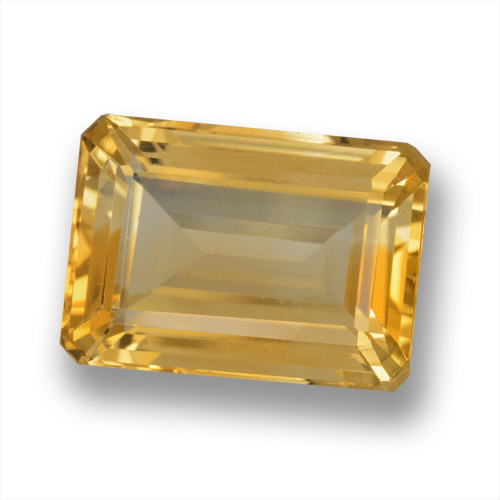 Orange-Gold Citrine Gem - 7.2ct Octagon Step Cut (ID: 460998)