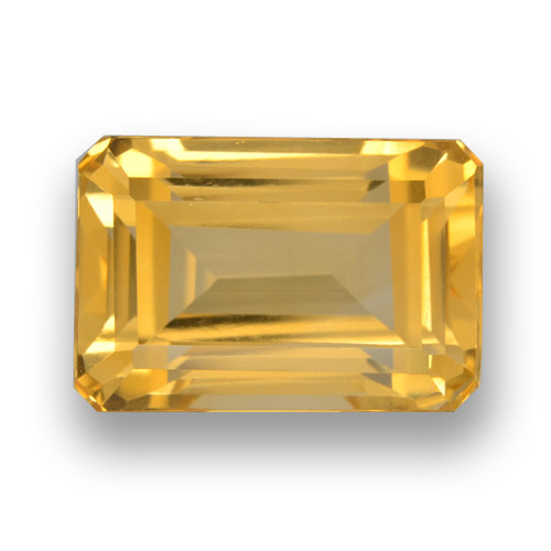5.7ct Octagon Step Cut Yellow Golden Citrine Gem (ID: 461179)