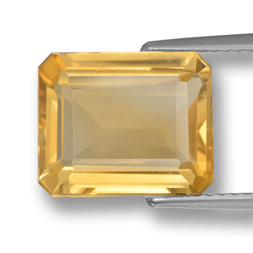 Medium Gold Citrina Gema - 5ct Corte octagonal (ID: 461312)