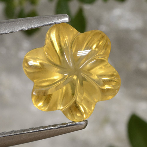 Bright Gold Citrine Gem - 2.5ct Carved Flower (ID: 470998)