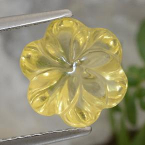 Yellow Golden Citrine Gem - 2.9ct Carved Flower (ID: 471049)