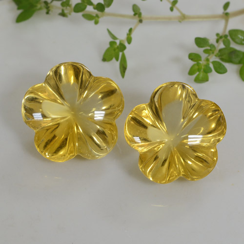 Golden Citrine Gem - 11.1ct Carved Flower (ID: 471455)