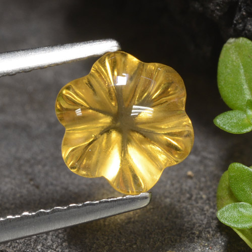 Yellow Golden Citrine Gem - 1.7ct Carved Flower (ID: 474332)