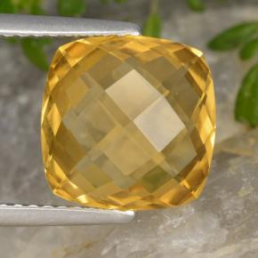 Deep Golden Orange Citrina Gema - 3.5ct Corte Cojín Checkerboard (ambos lados) (ID: 477276)