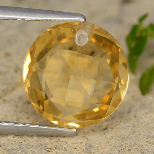 Dark Golden Citrine Gem - 4.9ct Round Drilled Checkerboard (Double Sided) (ID: 477364)