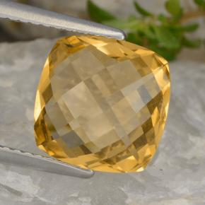 Dark Golden Citrina Gema - 3.3ct Corte Cojín Checkerboard (ambos lados) (ID: 477398)