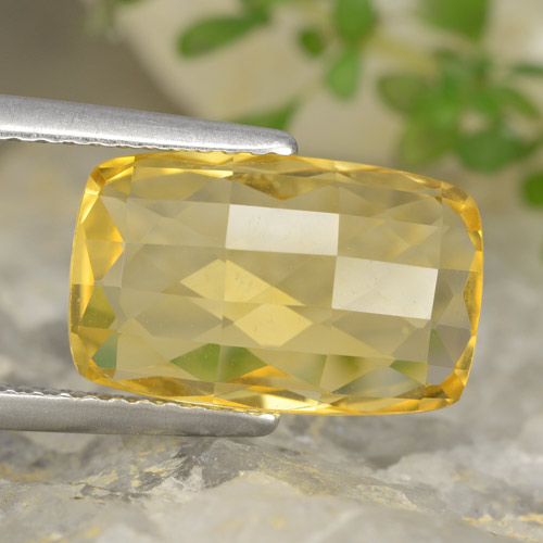 Deep Yellow Citrine Gem - 4ct Cushion Checkerboard (double sided) (ID: 477462)