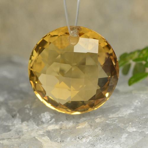 Yellow Golden Citrine Gem - 6.7ct Round Drilled Checkerboard (Double Sided) (ID: 477481)