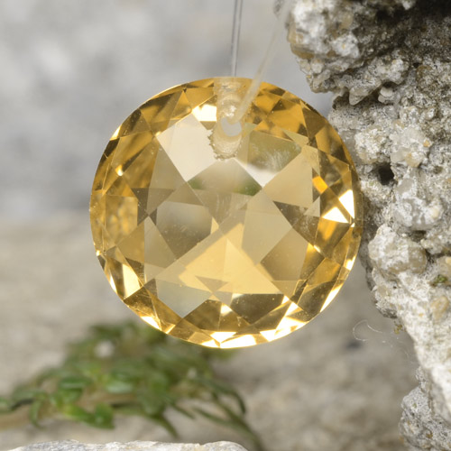 Yellow Golden Citrine Gem - 4.3ct Round Drilled Checkerboard (Double Sided) (ID: 477488)