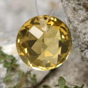 Yellow Golden Citrine Gem - 4.4ct Round Drilled Checkerboard (Double Sided) (ID: 477491)