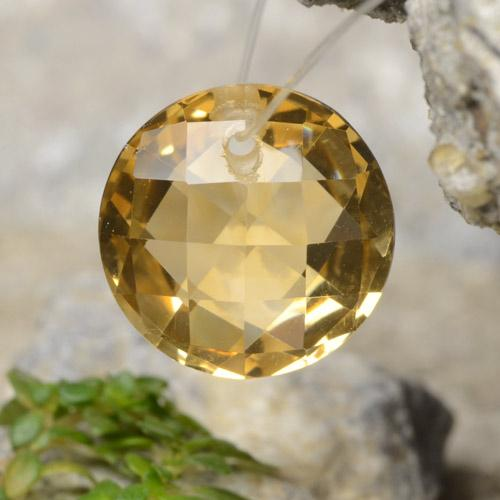Yellow Golden Citrine Gem - 4.4ct Round Drilled Checkerboard (Double Sided) (ID: 477493)