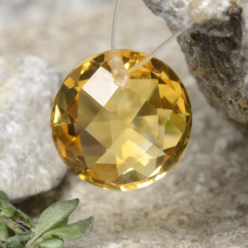 Yellow Golden Citrine Gem - 4.5ct Round Drilled Checkerboard (Double Sided) (ID: 477497)