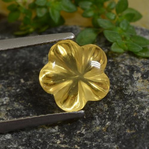 Yellow Golden Citrine Gem - 2.3ct Carved Flower (ID: 480025)