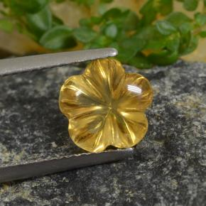 Yellow Golden Citrine Gem - 2ct Carved Flower (ID: 480029)