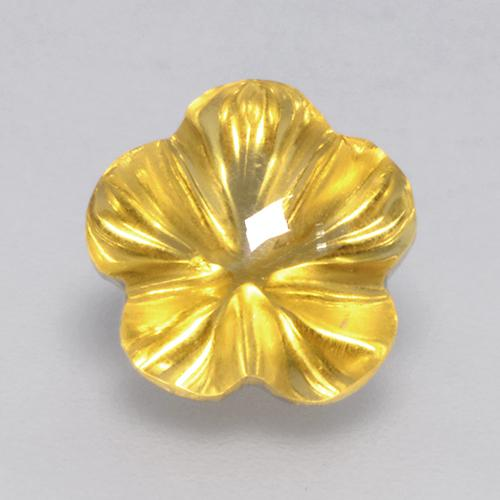 Yellow Golden Citrine Gem - 2.2ct Carved Flower (ID: 480066)