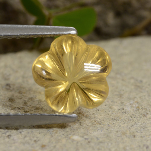 Yellow Golden Citrine Gem - 2.2ct Carved Flower (ID: 480243)
