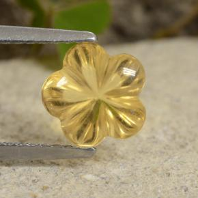Yellow Golden Citrine Gem - 1.9ct Carved Flower (ID: 480244)