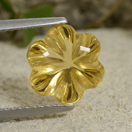 3.5ct Carved Flower Yellow Golden Citrine Gem (ID: 480247)