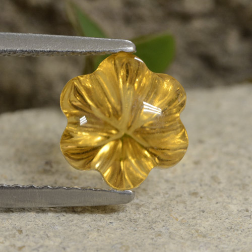 Yellow Golden Citrine Gem - 2.2ct Carved Flower (ID: 480249)