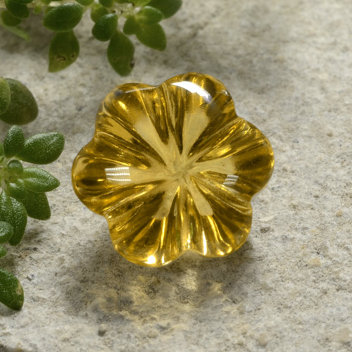 Yellow Golden Citrine Gem - 2.4ct Carved Flower (ID: 480329)