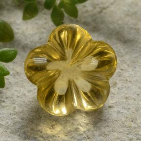 Yellow Golden Citrine Gem - 2.5ct Carved Flower (ID: 480331)