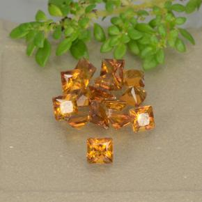 Yellow Orange Citrine Gem - 0.1ct Princess-Cut (ID: 492732)