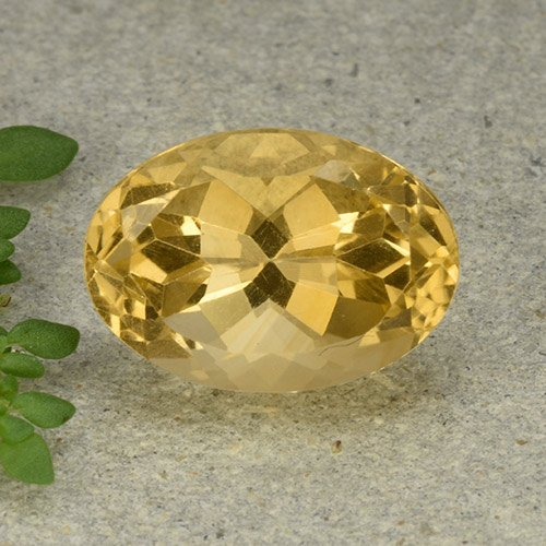 Yellow Citrine Gem - 6.1ct Oval Facet (ID: 492856)