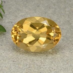 Deep Golden Orange Citrine Gem - 5.4ct Oval Facet (ID: 492909)