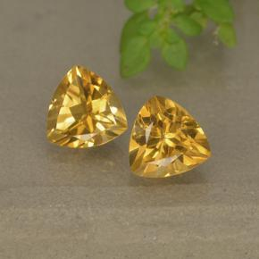 Yellow Golden Citrine Gem - 0.7ct Trillion Facet (ID: 499314)