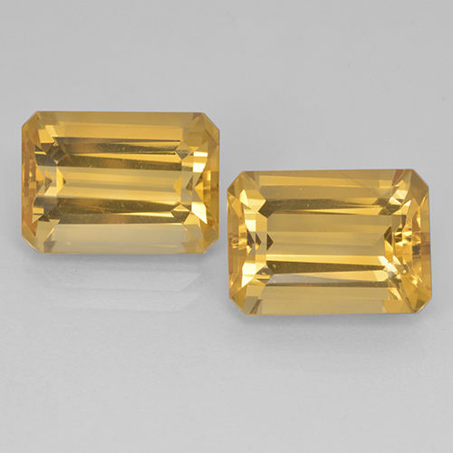 Yellow Golden Citrine Gem - 7.7ct Octagon Step Cut (ID: 499897)
