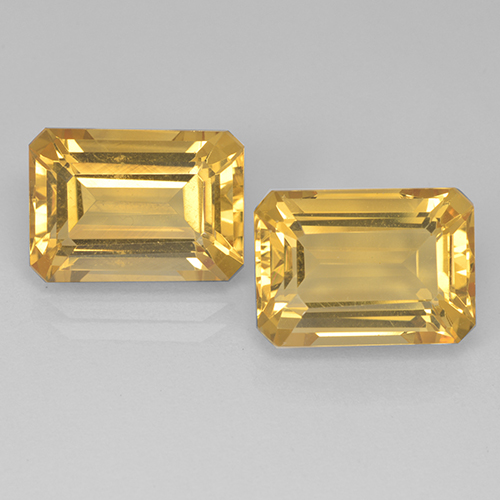 Yellow Golden Citrine Gem - 7.5ct Octagon Step Cut (ID: 499902)