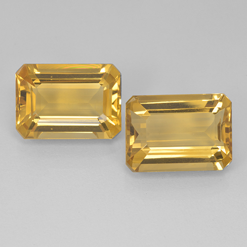 Yellow Golden Citrine Gem - 7.1ct Octagon Step Cut (ID: 499903)