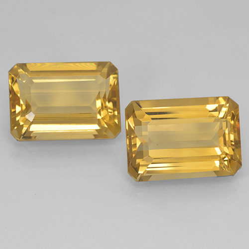 Yellow Golden Citrine Gem - 7.5ct Octagon Step Cut (ID: 499905)
