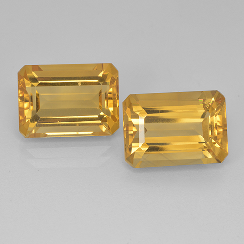 Yellow Golden Citrine Gem - 7.6ct Octagon Step Cut (ID: 499907)