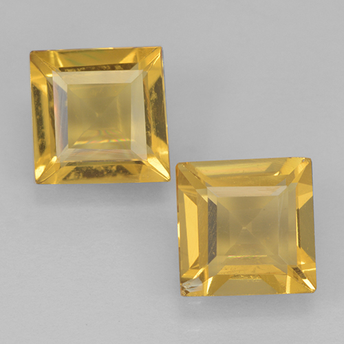Medium Gold Citrine Gem - 0.9ct Square Step-Cut (ID: 500439)