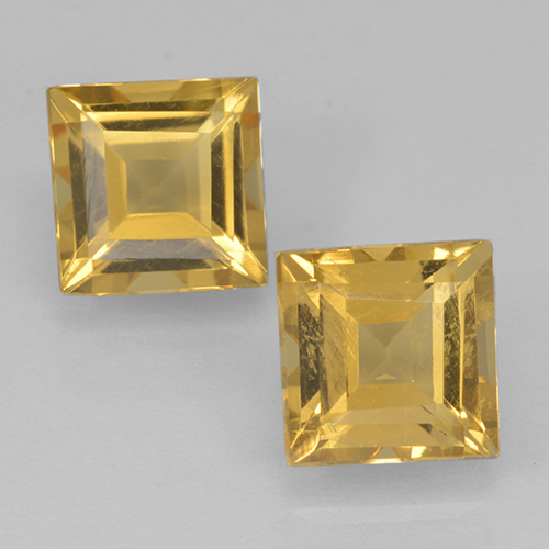 Yellow Golden Citrine Gem - 1ct Square Step-Cut (ID: 500442)