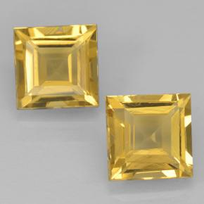 Yellow Golden Citrine Gem - 1ct Square Step-Cut (ID: 500450)