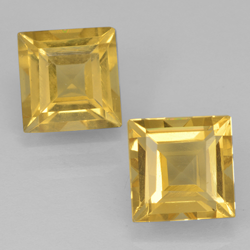 Yellow Golden Citrine Gem - 1.1ct Square Step-Cut (ID: 500453)