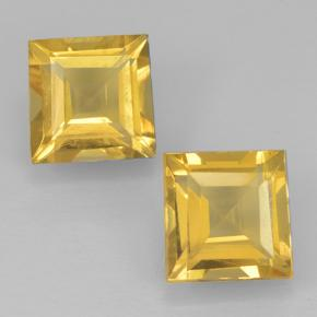 Yellow Golden Citrine Gem - 1ct Square Step-Cut (ID: 500454)