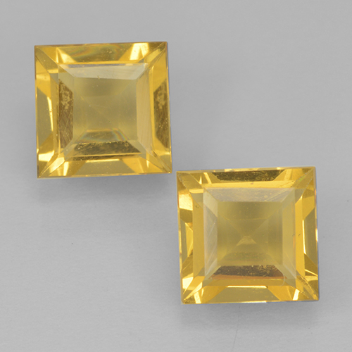 Yellow Golden Citrine Gem - 0.9ct Square Step-Cut (ID: 500456)
