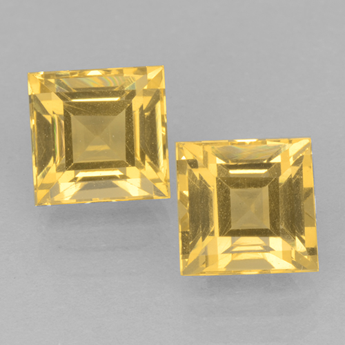 Yellow Golden Citrine Gem - 1.3ct Square Step-Cut (ID: 500663)
