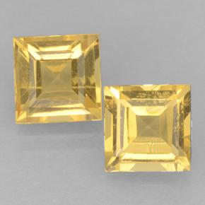 Medium Gold Citrine Gem - 1ct Square Step-Cut (ID: 500664)