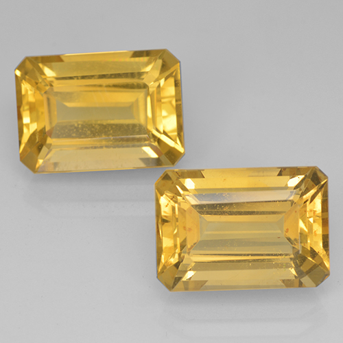 Medium Gold Citrine Gem - 7.6ct Octagon Step Cut (ID: 500690)