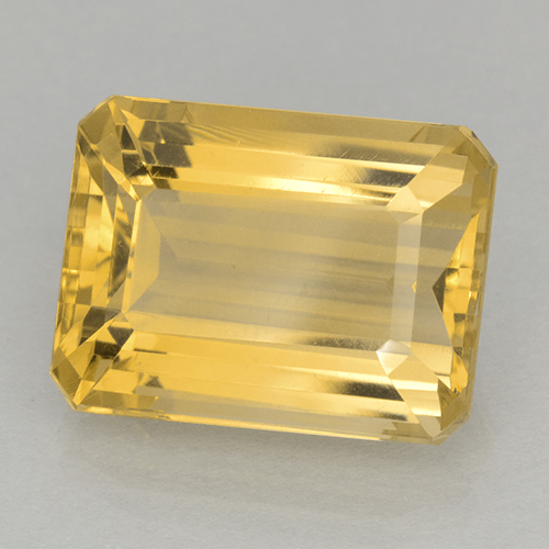 12.2ct Octagon Stufenschliff Medium Golden Citrin Edelstein (ID: 500717)