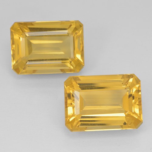 Yellow Golden Citrine Gem - 7.3ct Octagon Step Cut (ID: 500822)