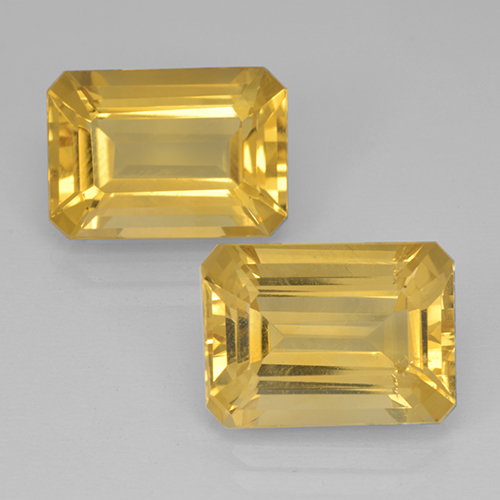 Yellow Golden Citrine Gem - 7.1ct Octagon Step Cut (ID: 500825)