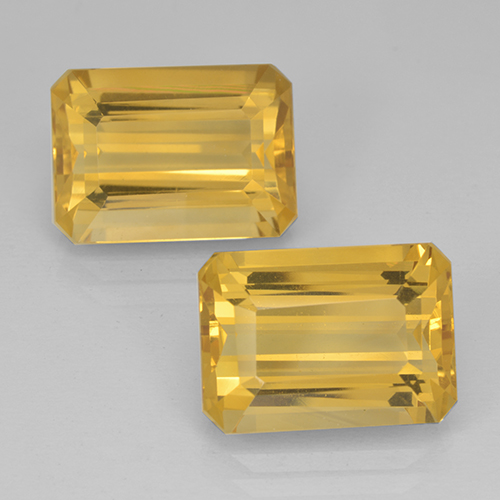 Yellow Golden Citrine Gem - 7.6ct Octagon Step Cut (ID: 500826)