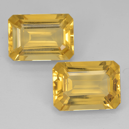 Yellow Golden Citrine Gem - 6.6ct Octagon Step Cut (ID: 500829)