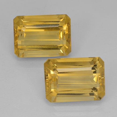 Yellow Golden Citrine Gem - 7.5ct Octagon Step Cut (ID: 500832)