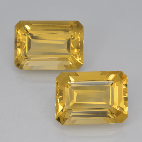 Yellow Golden Citrine Gem - 7.4ct Octagon Step Cut (ID: 500917)